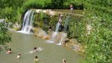 Waterval op camping Les Arches,Ardeche, Zuid Frankrijk