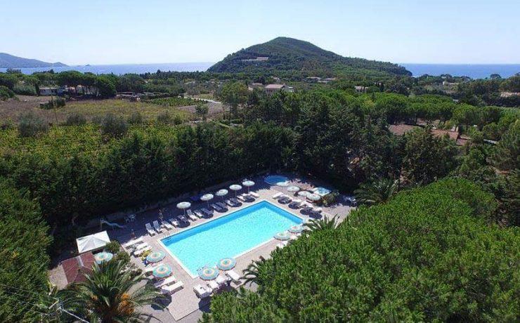 Ligging van het zwembad op Casa dei Prati